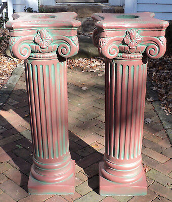 A Pair of Antique Painted Solid Concrete Corinthian Pedestal Columns Pillars