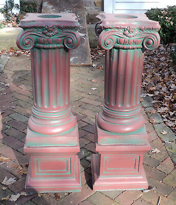 A Pair Antique Painted Concrete Corinthian Pedestal Columns Pillars on Basis #2
