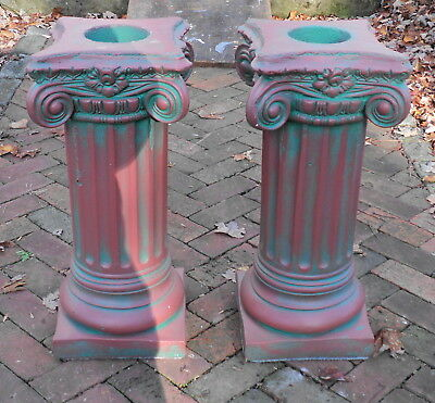 A Pair of Antique Painted Solid Concrete Corinthian Pedestal Columns Pillars #4