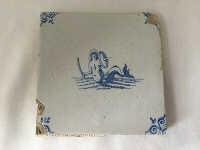 Antique Dutch Delft Tin-Glazed Tile With Merman-17th Century.          *3159