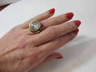 VTG Sheffield Ladies Ring Watch Red Tole Rose Gold Tone Adjustable Swiss Made