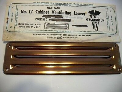 "Vtg NOS COPPER Louvered VENT Kitchen Sink Cabinet Trailer Fridge 10-3/8""X 2-7/8"""