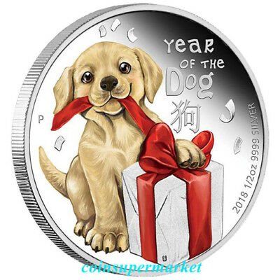 2018 Lunar Year Cute Baby Dog 1/2oz Colorized Silver Proof Coin The Perth OGP !!