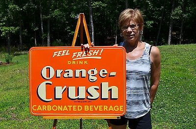 Vintage Orange Crush Embossed Sign Beautiful Minty Nos Condition Hard To Find!