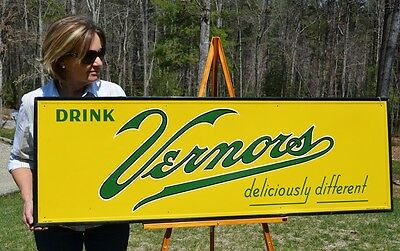 "Vintage 53 Yr Old Vernor's Soda Cola Drink Sign Big 55"" Collectable Piece Scarce"