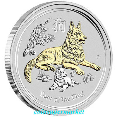 2018 Australian Lunar Year Of The Dog 1oz Silver Gilded Edition The Perth Mint!!