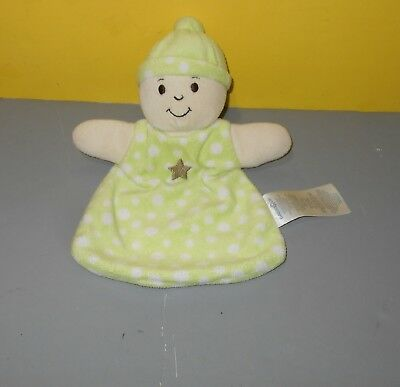 Babies R Us Baby Blanket Lovey Security Plush Doll Green White Dots Stars