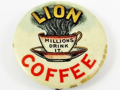 "Vintage Lion Coffee ""millions Drink It"" Advertising Celluloid Pin Button"