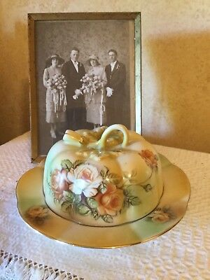 Beautiful Antique Victorian China Butter Cheese Dish With Yellow Roses