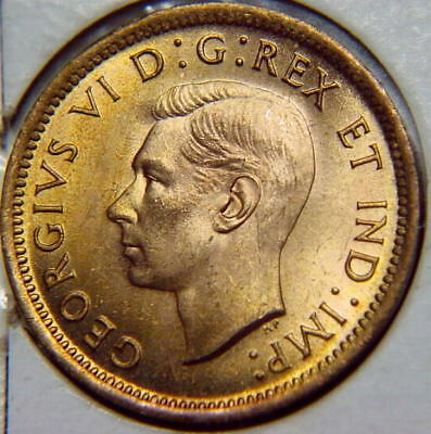 1937 CANADA Penny / Cent George VI BU UNC red (from mint roll) N/R