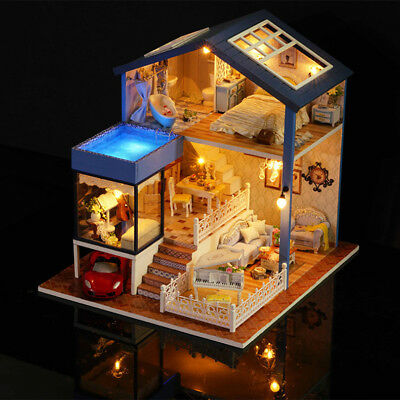 DIY Doll House Toy Wooden Miniature With Furniture LED Lights Birthday Gift Kids