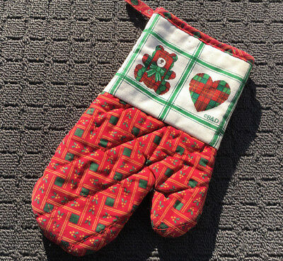 """CHRISTMAS TEDDY """"Red Holly"""" Novelty Festive Cotton Oven Mitt Cooking Glove"""