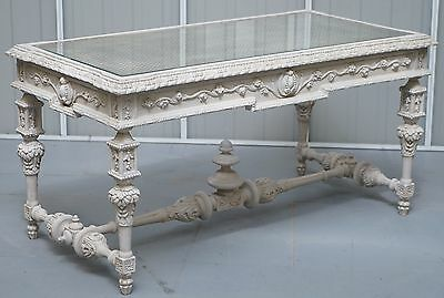 Stunning Vintage Hand Carved French Louise Xvi Style Coffee Table Berger & Glass