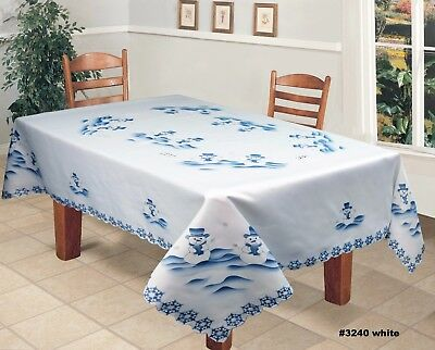Creative Linens Holiday Christmas Snowman Fabric Tablecloth White Blue