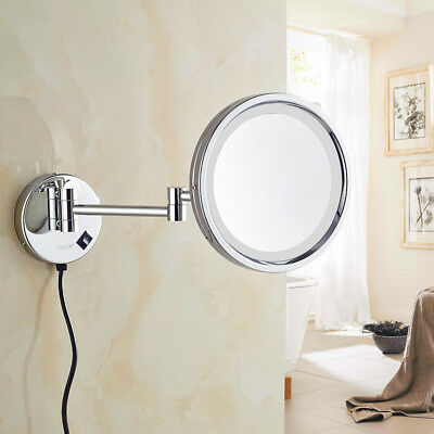 HOROW LED Wall mounted Double-Sided Makeup Shaving Magnifying Bathroom Mirror