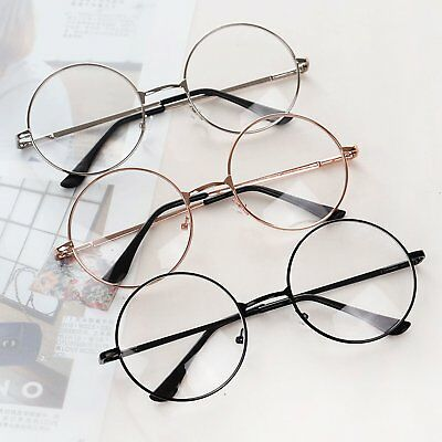 HOT Women Men Large Metal Frame Clear Lens Round Circle Eye Glasses Nerd Vintage