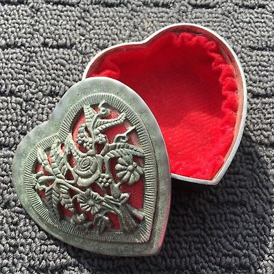 "LOVE HEART ""Antique Silver"" Pewter Metal Decorative Jewellery Trinket Box"