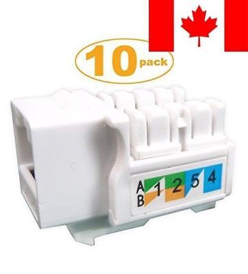 Generic 10-pack Cat6 RJ45 Keystone Jack Punch-Down Stand in White Ethernet Mo...