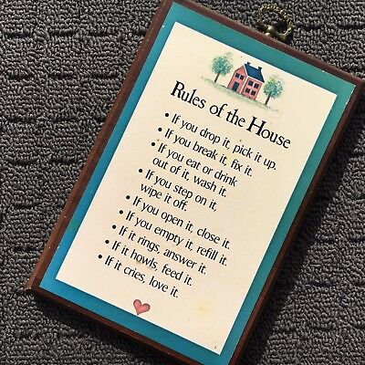 RULES OF THE HOUSE Motivational Wooden Sign Decorative Wall Plaque Picture Sign