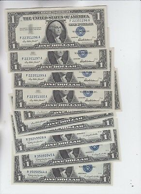 Silver Certificate $1 1957's 10 notes some may be consecutive Runs uncirculated