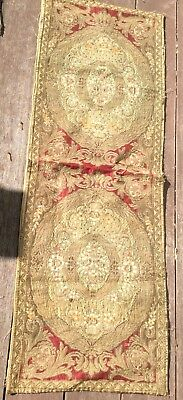 Antique Gold Thread BROCADE TAPESTRY TABLE RUNNER Dollie Mantel Scarf