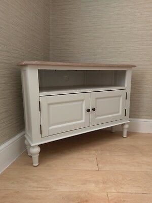 French Country White Corner Tv Unit Cabinet Stand 100cm Painted