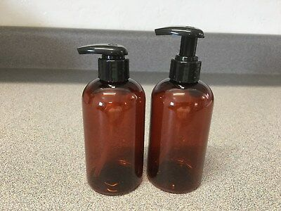 NEW 8 oz Amber PLASTIC Boston Round Bottle with WIDE COMFORT Pump  $7.50-12.50