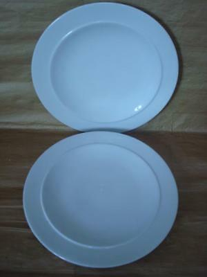 Denby White 9 1/4 Inch Small Dinner Plates X 2