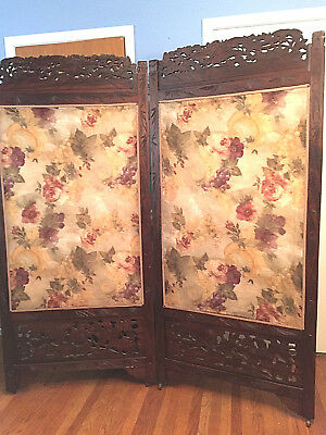 """Collector's Antique Japanese Meiji Victorian Room Divider, 2 Panel Screen, 66""""W"""