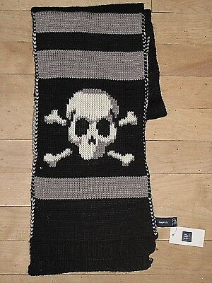 New Nwt $17 Black White Skull Cross Bones Boy's Girl's Neck Scarf