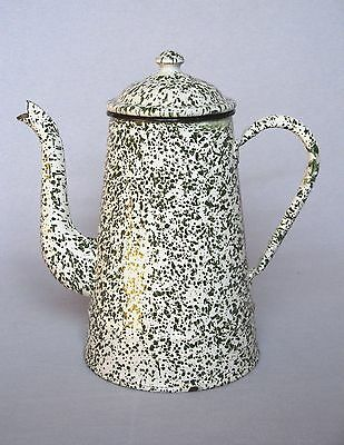 Charming Rare Vintage French Enamel Coffee Pot ~Green & White Speckled Design