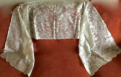 ANTIQUE FRENCH EMBROIDERED SILK NET LACE VEIL SHAWL MANTILLA 20 x 86 IN
