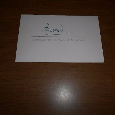 George Lascelles, 7th Earl of Harewood Hand Signed Card