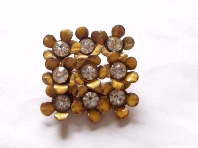 Vintage Art Deco Miriam Haskell Style Enamel Glass Crystal Floral Square Brooch