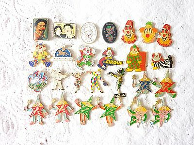 LOT  PIN'S CIRQUE CLOWN CARNAVAL CIRCUS ETC+++ avec attaches