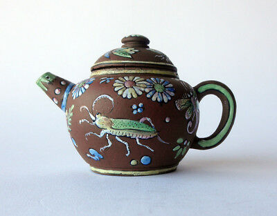 very rare Dutch MINIATURE stoneware / redware TEAPOT imitating YIXING circa 1720