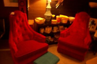 Vintage Mod Pair of Retro Red Velvet Chairs with Brass Finials