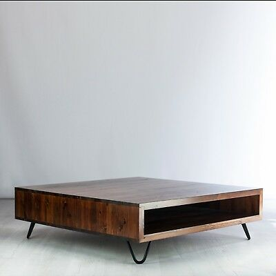 NEW Vintage Solid Wood Low Box Coffee Table - Hairpin Legs, Jacobian Dark Finish