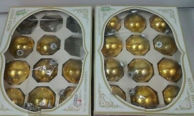 Lot of 20 Vintage Shiny Brite Gold Glass Christmas Ornaments balls decorations