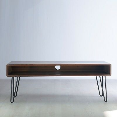 Vintage Retro TV Stand. Metal Hairpin Legs. Solid Wood, Rustic, Unit, Table