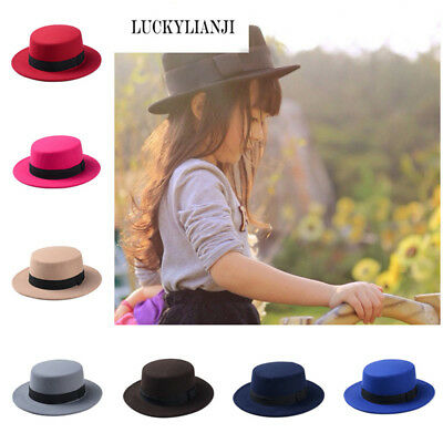 f4836a7dd7f249 Autumn Winter Children's Fashion Wool Felt Wide Brim Flat Pork Pie Bowler  Hat