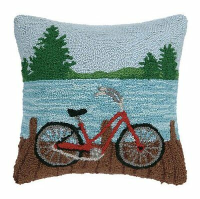 "Mountain Lake Bike Bicycle 16"" X 16"" Wool Hooked Throw Pillow"