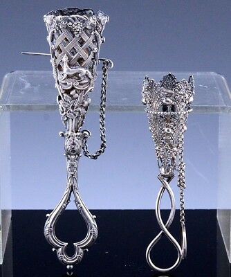 ESTATE LOT 2 VICTORIAN c1880 CONTINENTAL SOLID SILVER POSY HOLDERS  DOG FIGURAL