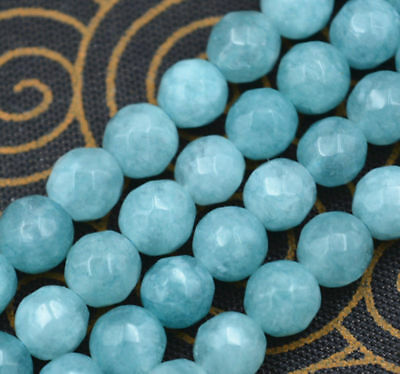 """Natural 10mm Faceted Blue Aquamarine Round Gemstone Loose Beads 15"""" AAA++"""