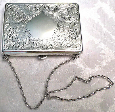 Antique Sterling Silver Victorian Evening Dance Purse With Kid Leather Interior