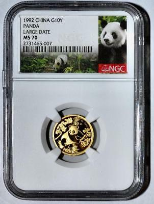 1992 China 10 Yuan Large Date Gold Panda Coin NGC/NCS MS70 Conserved!! Perfect!!