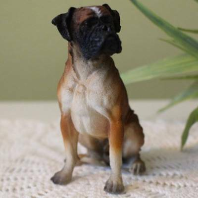 Boxer Dog Figurine 4 inch Statue Resin Sitting Down