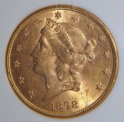 1898-S $20 Gold Double Eagle  NGC MS-60