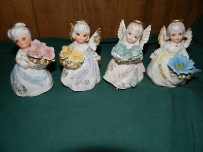 Lot 4 Vintage LEFTON Flower Angel of Month Figurines 3332 Japan MIJ Bisque AS IS