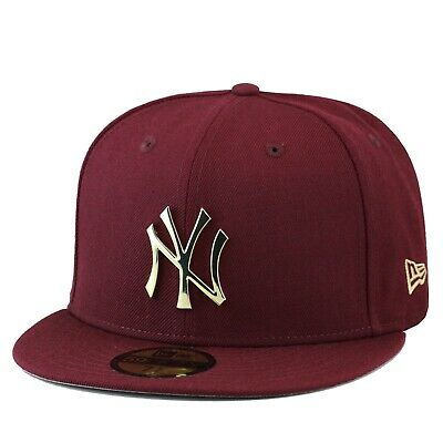 New Era 59FIFTY New York Yankees Fitted Hat Cap Maroon/Gold Metal Badge